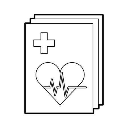 medical order with cardiology test document icon vector illustration design Ilustracja