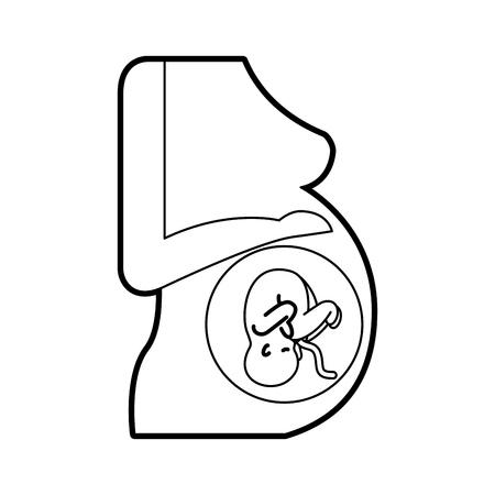 Mujer embarazada con su feto ilustración vectorial diseño Foto de archivo - 82032287