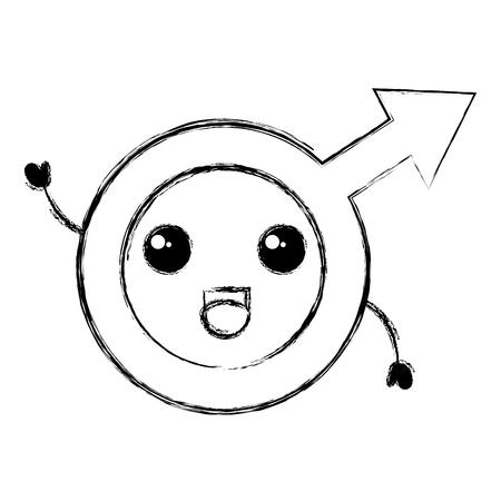 male symbol kawaii character vector illustration design