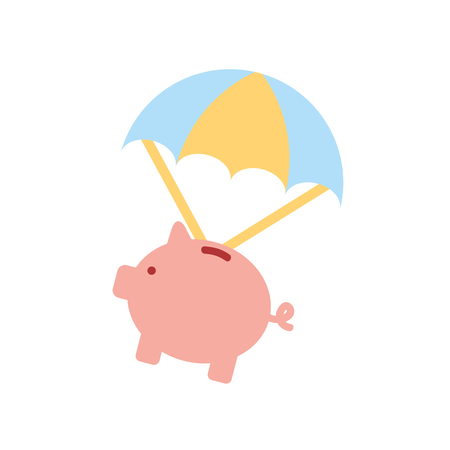 piggy savings with parachute vector illustration design Illustration
