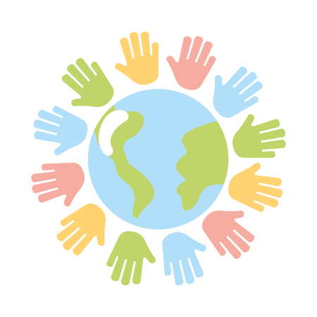 hands human with world planet earth icon vector illustration design