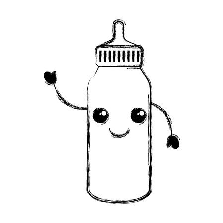 bouteille bébé personnage vector illustration design