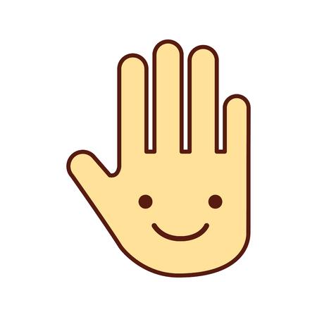 인간의 인간의 중지 kawaii 문자 벡터 일러스트 레이 션 디자인