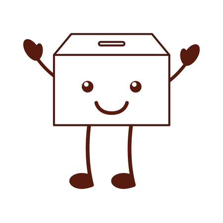 カワイイ文字ベクトル イラスト デザインを梱包ボックス カートン  イラスト・ベクター素材