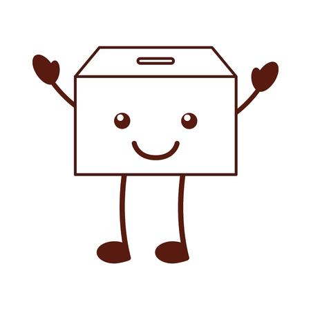 box carton packing kawaii character vector illustration design