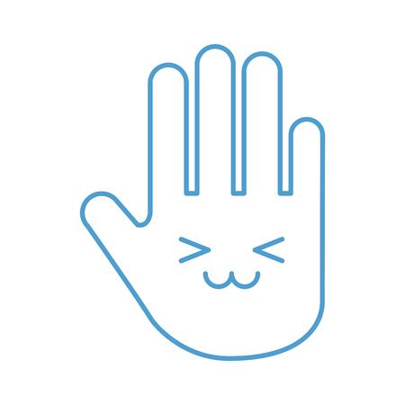 hand human stop kawaii character vector illustration design