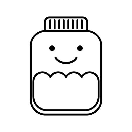 mason jar bottle kawaii character vector illustration design
