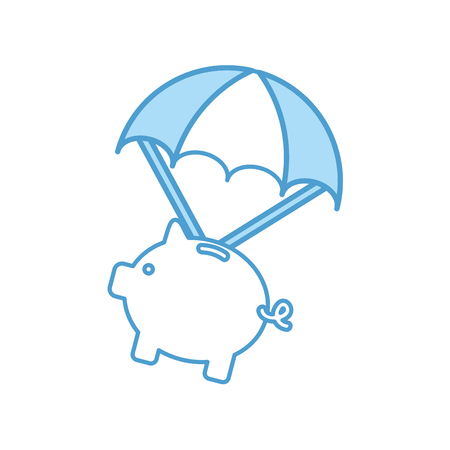 piggy savings with parachute vector illustration design Illusztráció