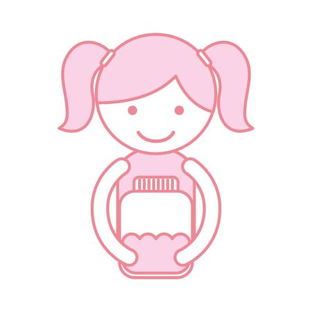 cute little girl character with watter bottle vector illustration design