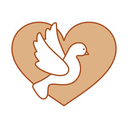 かわいい鳩のアイコン ベクトル イラスト デザインの心
