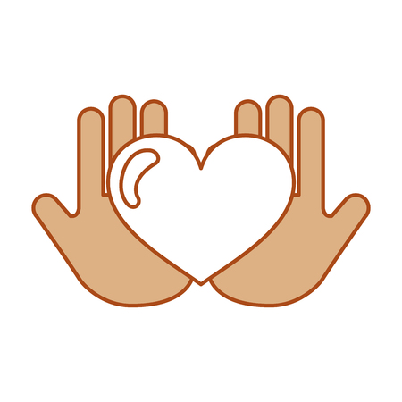 hand human with heart love vector illustration design