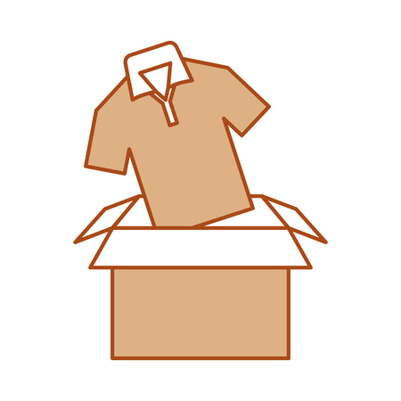 box carton packing with shirt vector illustration design