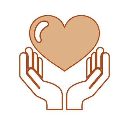 A hand human with heart love vector illustration design. Illustration