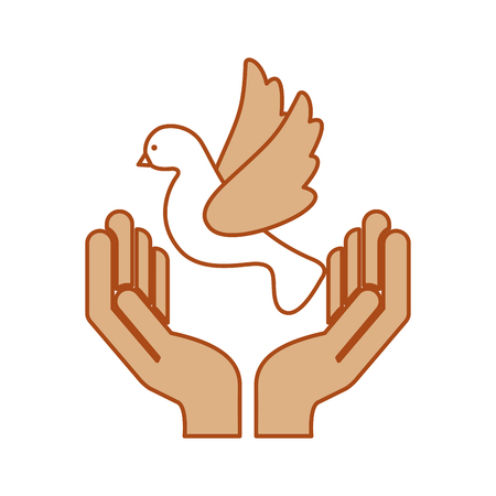 A hands human with cute dove flying icon vector illustration design. Illustration