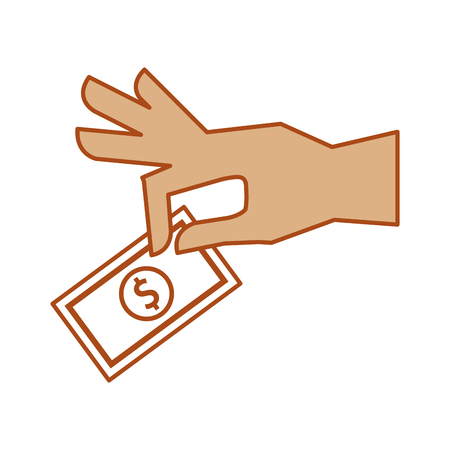 hand human with bill money isolated icon vector illustration design