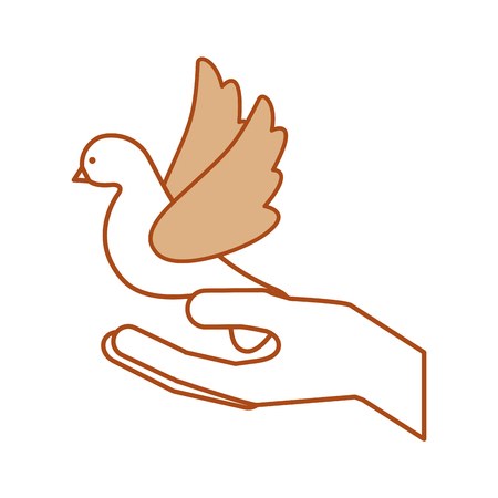 hands human with cute dove flying icon vector illustration design