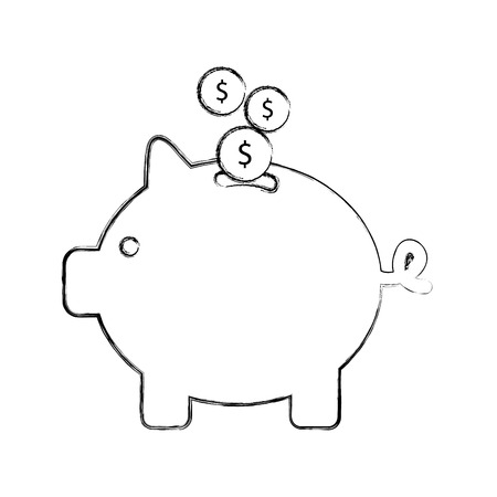 savings account: piggy savings isolated icon vector illustration design Illustration