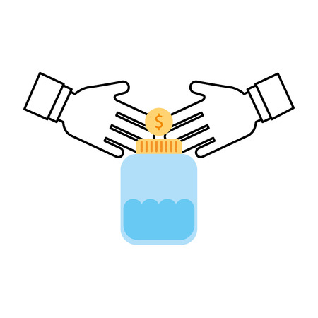 mason: mason jar bottle with coins vector illustration design Illustration