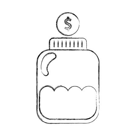 mason jar bottle with coins vector illustration design Ilustração