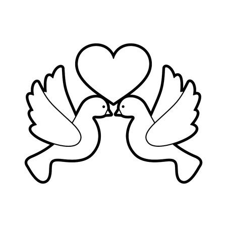 벡터 일러스트 레이 션 디자인 비행 귀여운 비둘기와 심장
