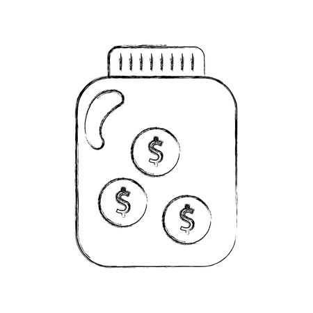 mason jar bottle with coins vector illustration design Banco de Imagens - 82031576