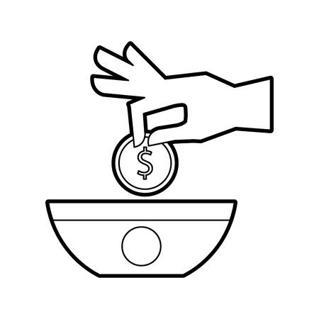手のコイン金分離アイコン ベクトル イラスト デザインと人間