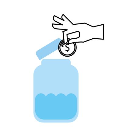 mason jar bottle with coins vector illustration design Illustration