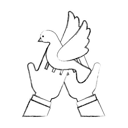 인간의 손에 비행 아이콘 벡터 일러스트 디자인을 비행하는 귀여운 비둘기