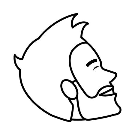 young man head model avatar character vector illustration design