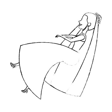 Carácter de avatar de la ilustración de vector de diseño de lindo chica Foto de archivo - 82034348