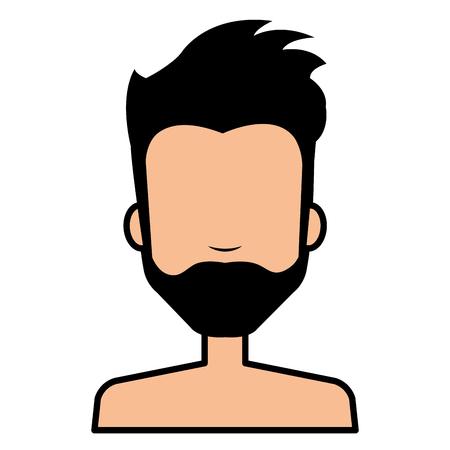 young man model shirtless avatar character vector illustration design Illustration