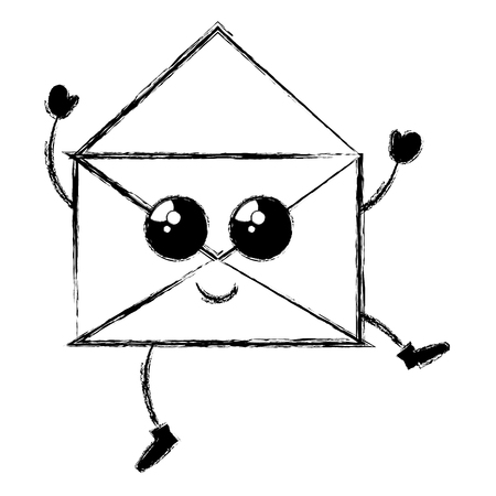 envelope mail kawaii character vector illustration design