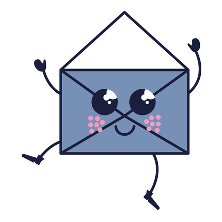 envelope mail kawaii character vector illustration design