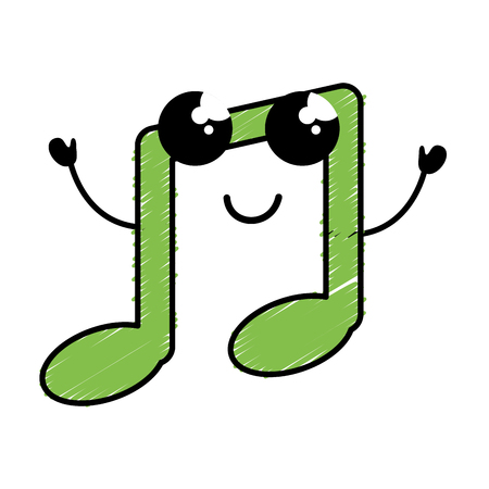 music note kawaii character vector illustration design