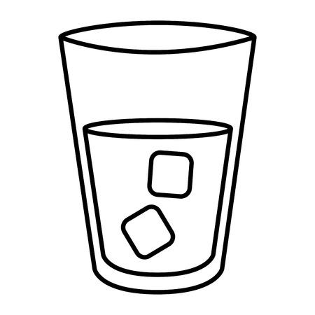 水のガラスのアイコン ベクトル イラスト デザインを分離しました。