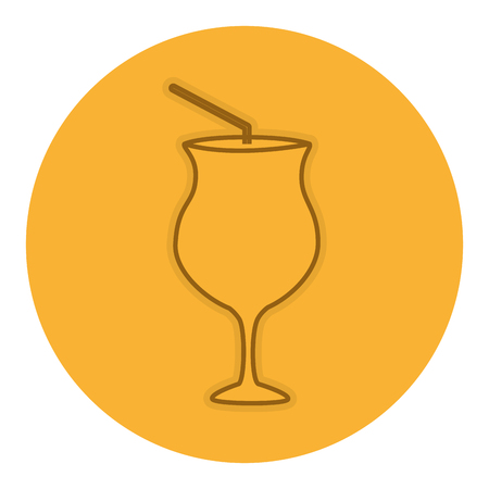 cocktail cup with straw vector illustration design