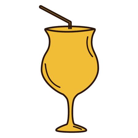 Cocktail cup met stro vector illustratie ontwerp