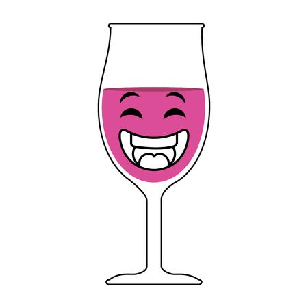 dinner party: wine cup kawaii character vector illustration design Illustration