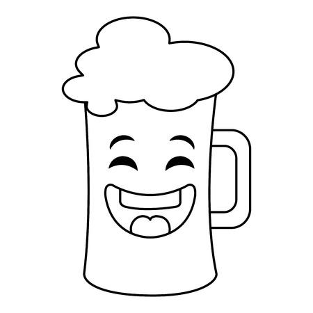 jarra de cerveza: beer jar kawaii character vector illustration design