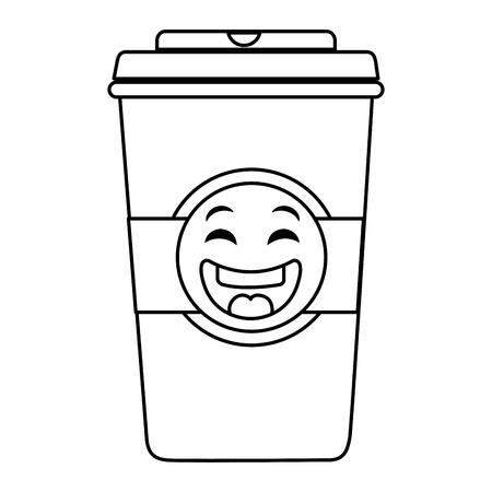 플라스틱 컵 kawaii 문자 벡터 일러스트 디자인 커피 일러스트