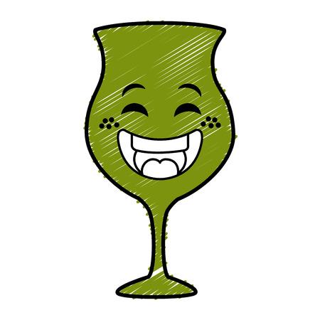 와인 컵 가와이 캐릭터 벡터 일러스트 레이션 디자인