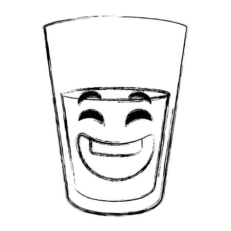 water glass kawaii character vector illustration design