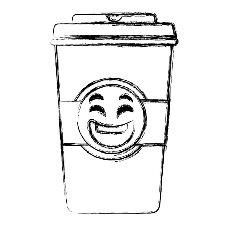 coffee in plastic cup  character vector illustration design