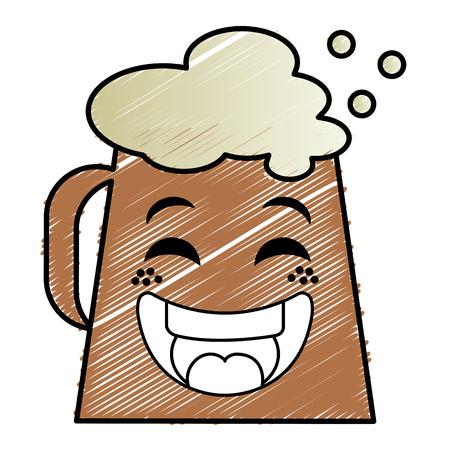 jarra de cerveza: Jarra de cerveza kawaii carácter ilustración vectorial diseño Vectores