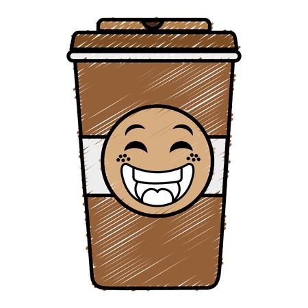 Caffè in tazza di plastica kawaii carattere illustrazione vettoriale design Archivio Fotografico - 82071498