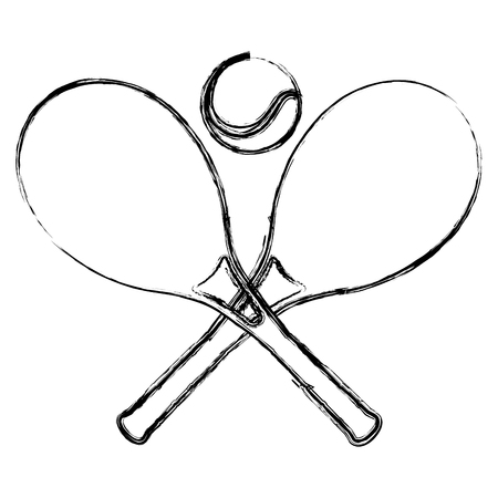 tennis rackets with ball vector illustration design