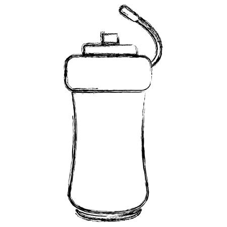 ボトル分離されたジムのアイコン ベクトル イラスト デザイン