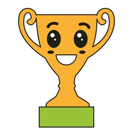 트로피 컵 수상 가와이 캐릭터 벡터 일러스트 디자인