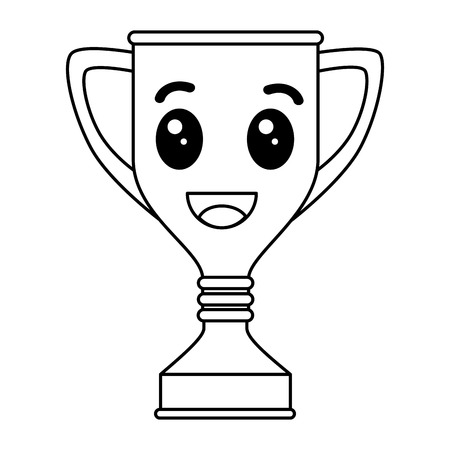 trophy cup award kawaii character vector illustration design