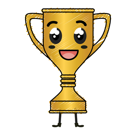 Trofee cup award kawaii karakter vector illustratie ontwerp Stockfoto - 82073930